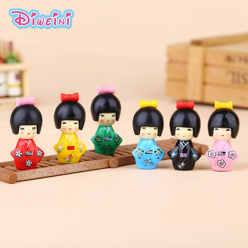 Kimono Newest Toy-Model Figurine Miniature Gift Pvc-Craft Kawaii Japan 6pcs Personage