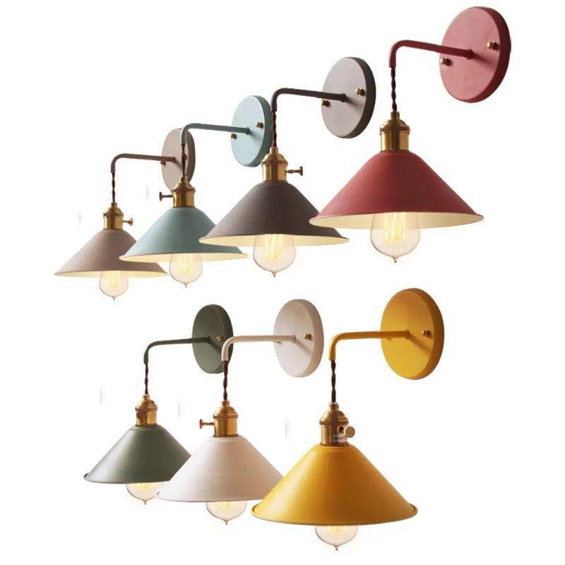 Nordic Metal Led Wall Lamp Colorful Vintage Lighting Fixture Iron Lampshade Wall Luminaire Aisel Corridor Bedside Light Homedeco homedeco наклейка зеркальная homedeco ромашки 15х25 см 5pzdotx