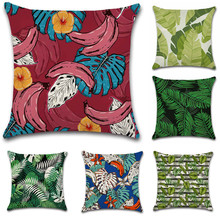 Nordic style Tropical plants flower Banana leaves Cushion Cover Decoration for home Sofa chair car Pillow case friend kids gift nordic style tropical plants flamingo green leaf cushion cover decoration for home sofa chair car pillow case friend kids gift