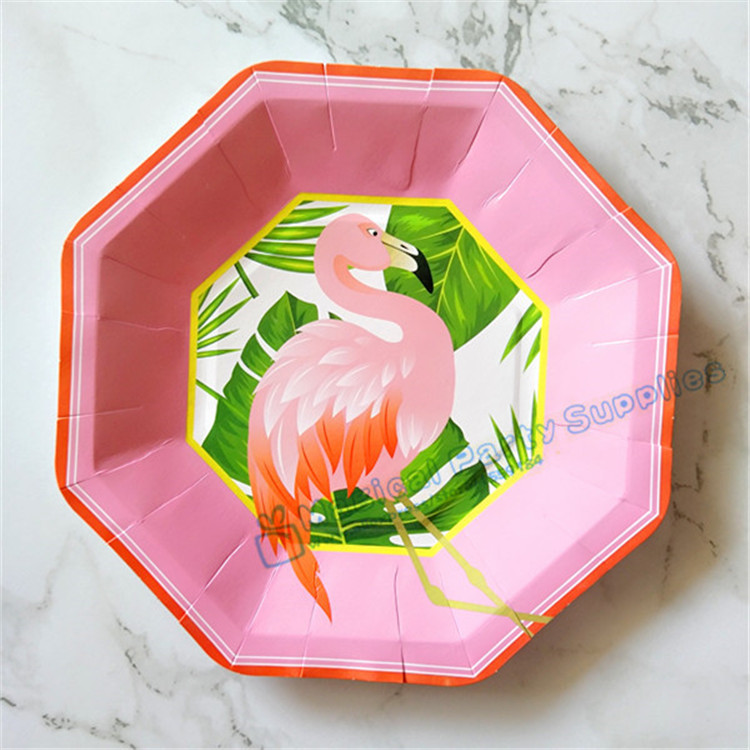 80pcs Island Oasis Flamingo Dessert Plates Small 7inch Large 9inch Paper Plates Luau Tropical Hawaiian Party Supplies Tableware
