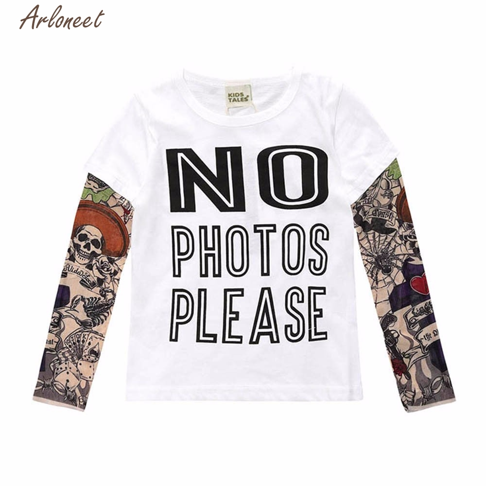 TELOTUNY Baby Clothes Child Infant Tattoo Letter Printing Patchwork Tops Blouse T-shirt Outfit Clothes        Y122730