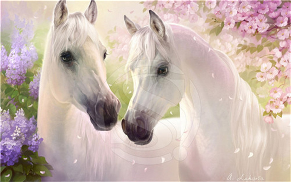 F 46 Custom White Horses Painting Parrot Home Decor Fashion Modern For Bedroom Wall Poster
