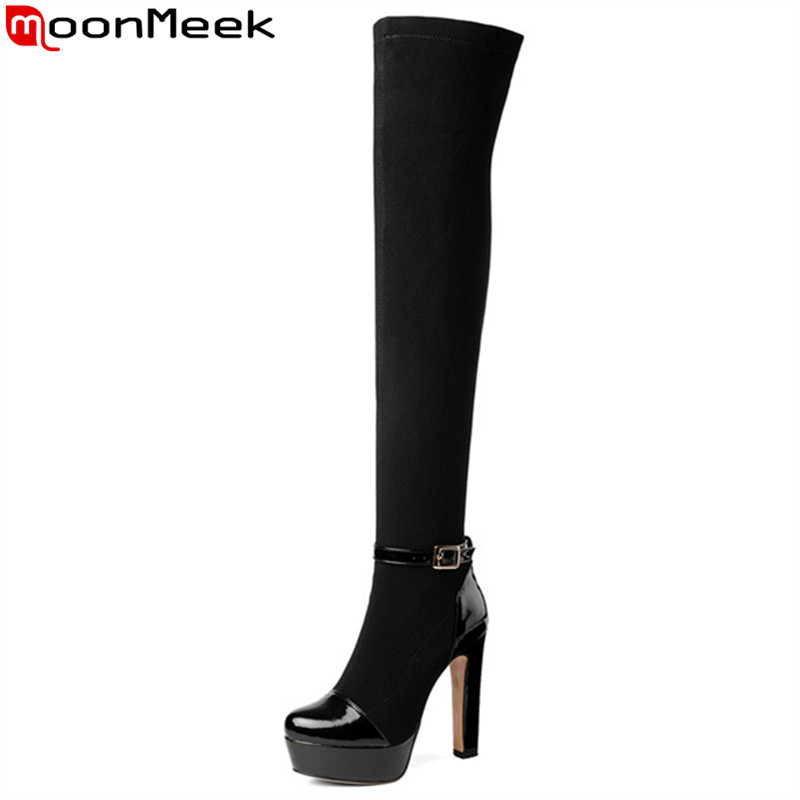 MoonMeek 2018 fashion autumn winter boots round toe over the knee boots thick high heels boots platform thigh high boots стоимость