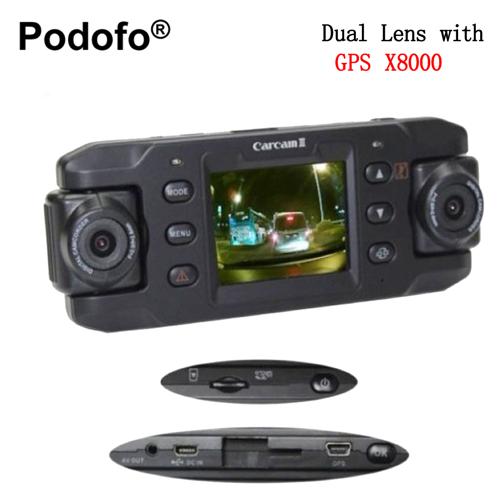 Podofo Dual Lens Dash Cam Auto DVRs Car DVR with GPS X8000 Camera Recorder Video Camcorder Full HD 1080P Registrator Blackbox 1080p car dash camera dvr with dual lens 4 screen