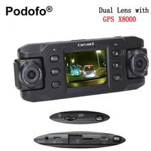 Podofo Dual Lente Dash Cam Auto Dvr Coche DVR con GPS X8000 Registrador de la Cámara de Vídeo Videocámara Full HD 1080 P Registrator Blackbox
