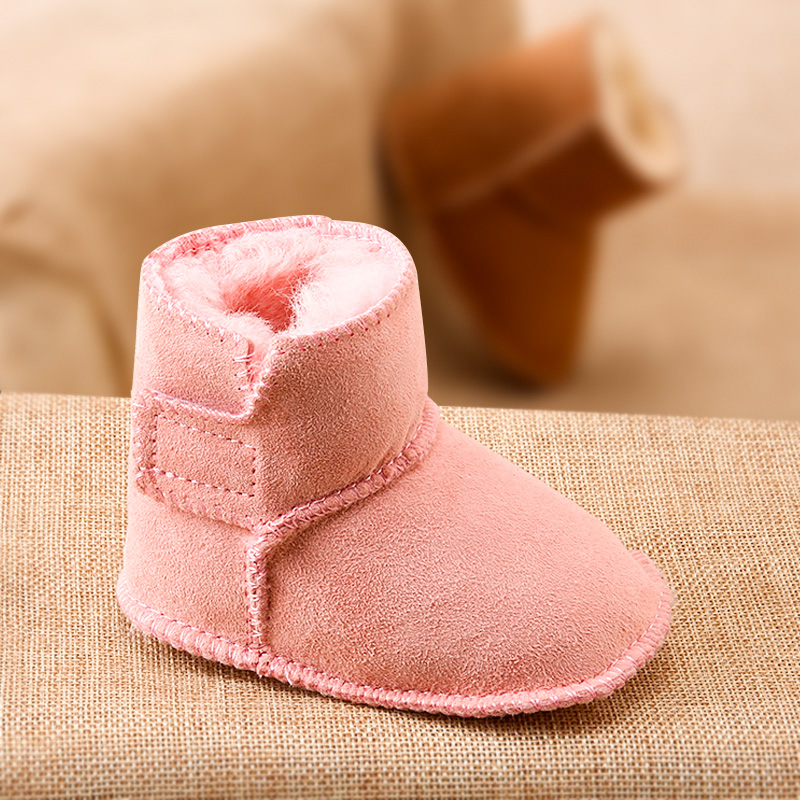 Phynie 0-2 year-old sheepskin fur snow boots for boys and girls thickening warm shoes soft bottom step shoes