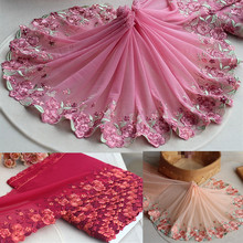 7.8720cm(3yards/lot) Embroidered Floral Elastic Tulle Lace Trim~Deep Aqua+Rose Red+Pink~