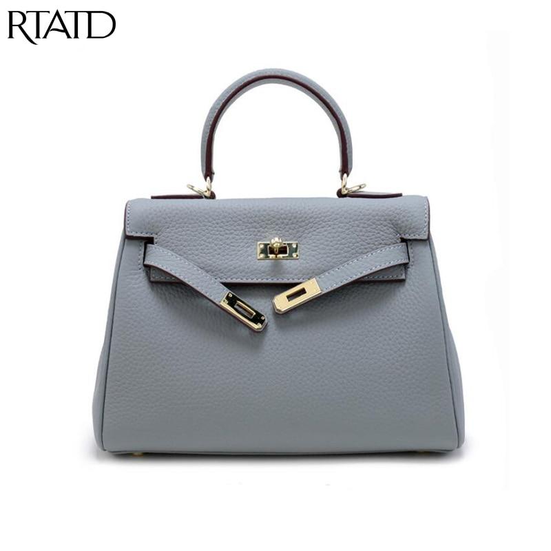 RTATD classique en cuir véritable femmes sacs 3 taille serrure peau de vache conception femmes sacs à main de mode célèbre marque conception épaule BagsB107