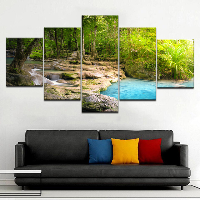 5 Panel/Pieces HD Print Seaside Waterfall Landscape Modern Wall Posters Canvas Art Paintings For Home Living Room Decoration TYG