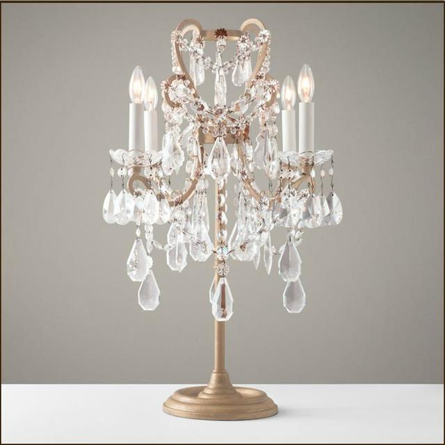 French Style Palace Crystal Study Desk Light Bedroom Table Lights