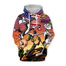 Men Cartoon Bugs Bunny 3d hoodies galaxy Sweatshirt USA flag print unisex casual Pullover autumn jacket tracksuit plus size men cartoon bugs bunny 3d hoodies galaxy sweatshirt usa flag print unisex casual pullover autumn jacket tracksuit plus size
