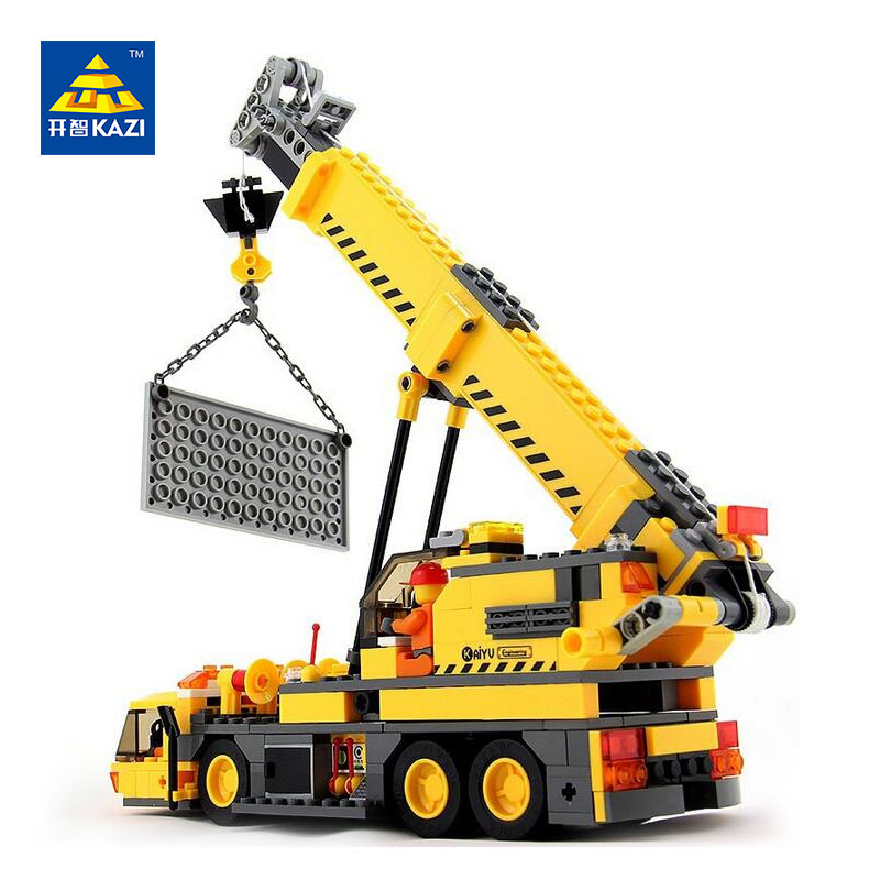 KAZI City Engineer Crane Building Blocks Sets Bricks Model Brinquedos Educational Toys for Children 6+ Ages 380pcs 8045 lepin 631pcs city police station kazi 6725 building blocks action figure baby toys children building bricks brinquedos kid gift