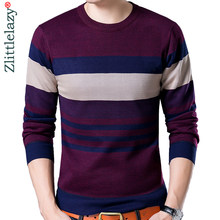 2019 marke designer pullover gestreiften männer pullover kleid dicken winter warme jersey gestrickte pullover mens wear slim fit strickwaren 132(China)
