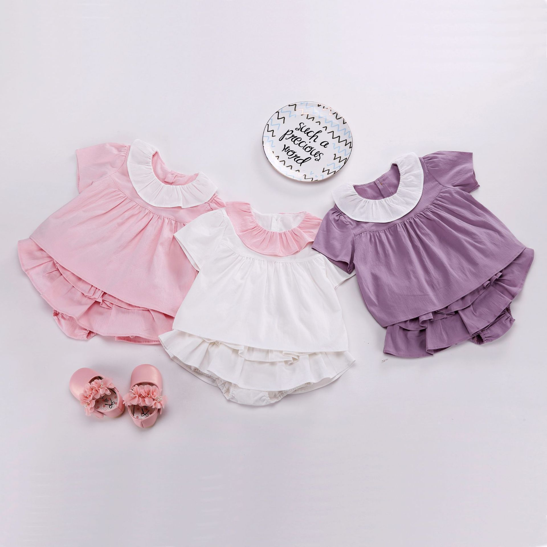 Bow Shorts On Both Sides 2Pcs Princess Outfit Clothes Newborn Baby Grils Pink Lace Purfle Floral Tank Top