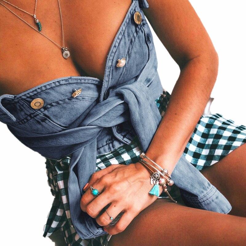 Summer T-Shirt Club Sexy Fashion Women's Button Open-Navel Slash-Neck Retro Hot New