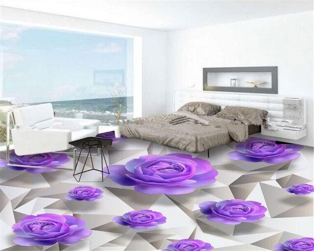 Beibehang 3D Bodenbelag Erweiterte Design Tapeten Lila Rosen