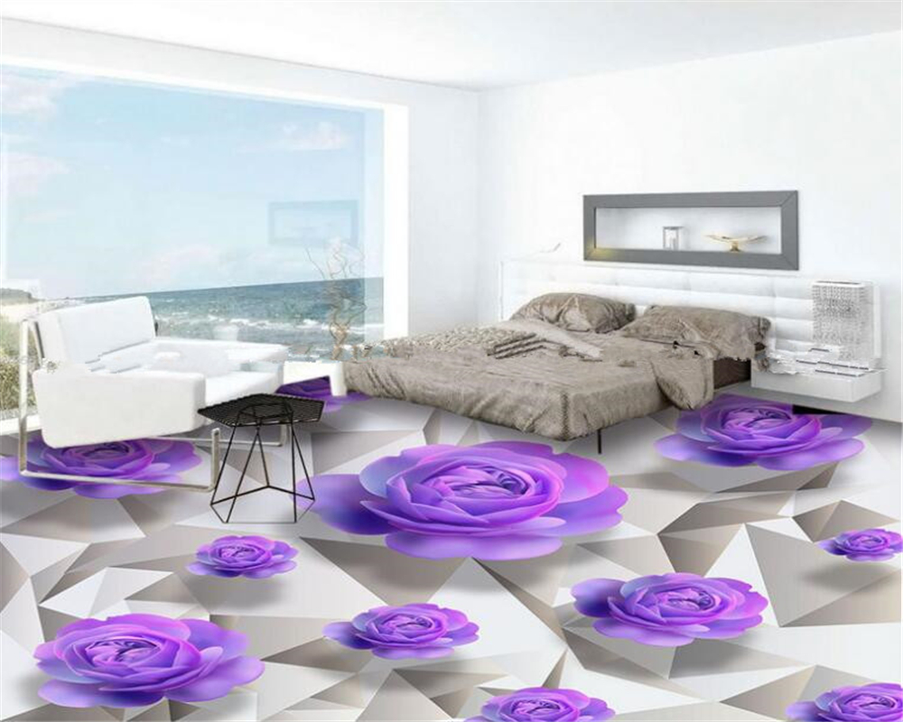 beibehang d suelos avanzado diseo de papel tapiz prpura rosas romntico bao dormitorio piso d papel