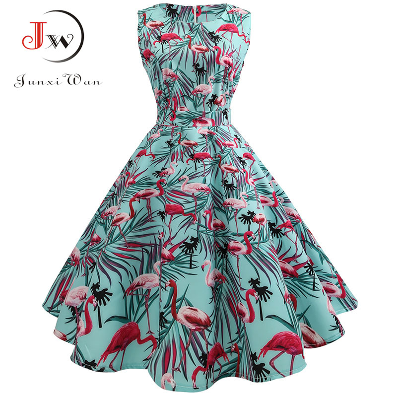 Summer Dress Women  50s 60s Rockabilly Vintage Dress A-Line Party Dresses With Belt Robe Femme Casual Plus Size Dress