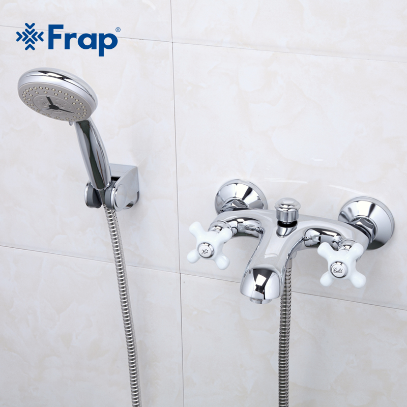 FRAP 1 Set Elegant Style Bath room Faucet Cold and Hot Water Mixer Ceramic Two-handle F3018