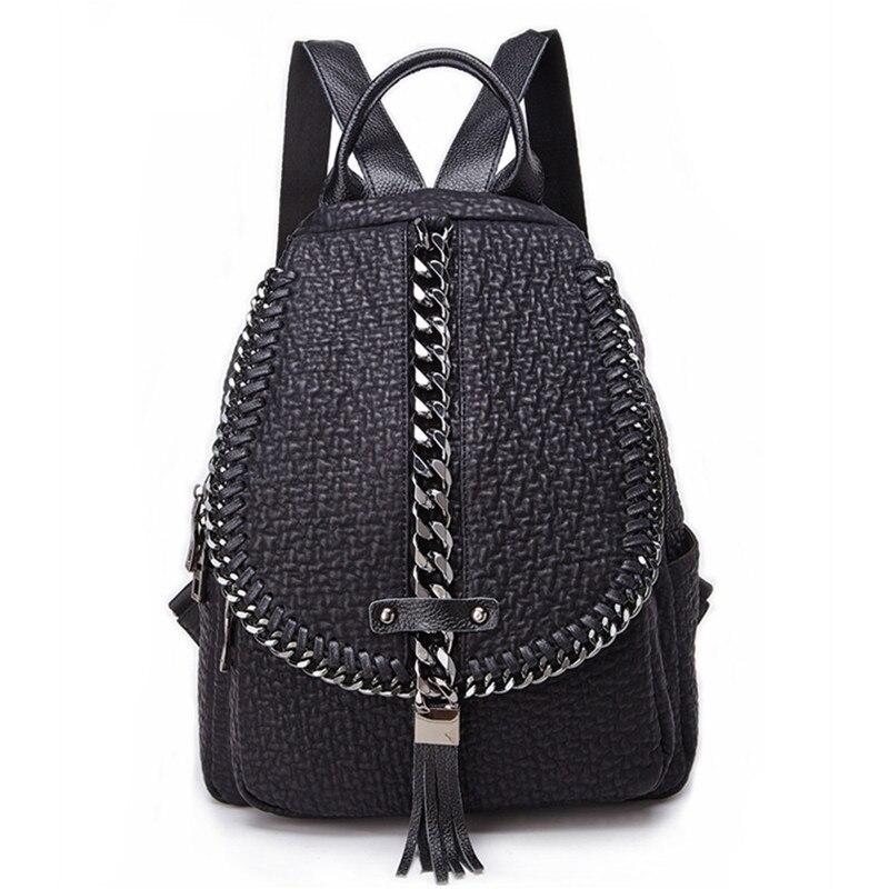 QINRANGUIO Genuine Leather Backpack Tassel Women Backpack 2019 New Design Chains School Backpacks for Teenage Girls