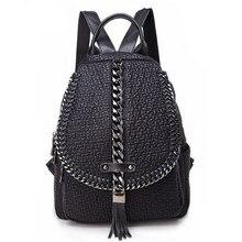 QINRANGUIO Genuine Leather Backpack Tassel Women Backpack 2020 New Design Chains School Backpacks for Teenage Girls Mochila
