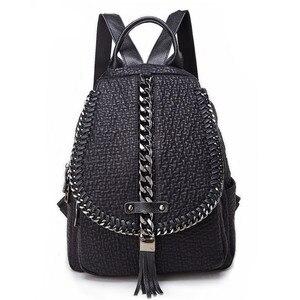 Image 1 - QINRANGUIO Genuine Leather Backpack Tassel Women Backpack 2020 New Design Chains School Backpacks for Teenage Girls Mochila
