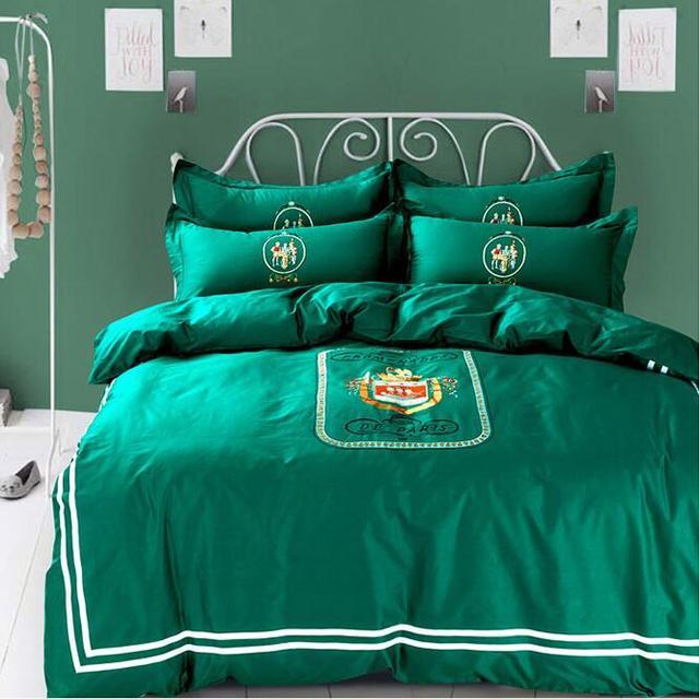 royal textile linge de lit Français royal vert De Luxe 100% coton broderie 4 pcs housse de  royal textile linge de lit