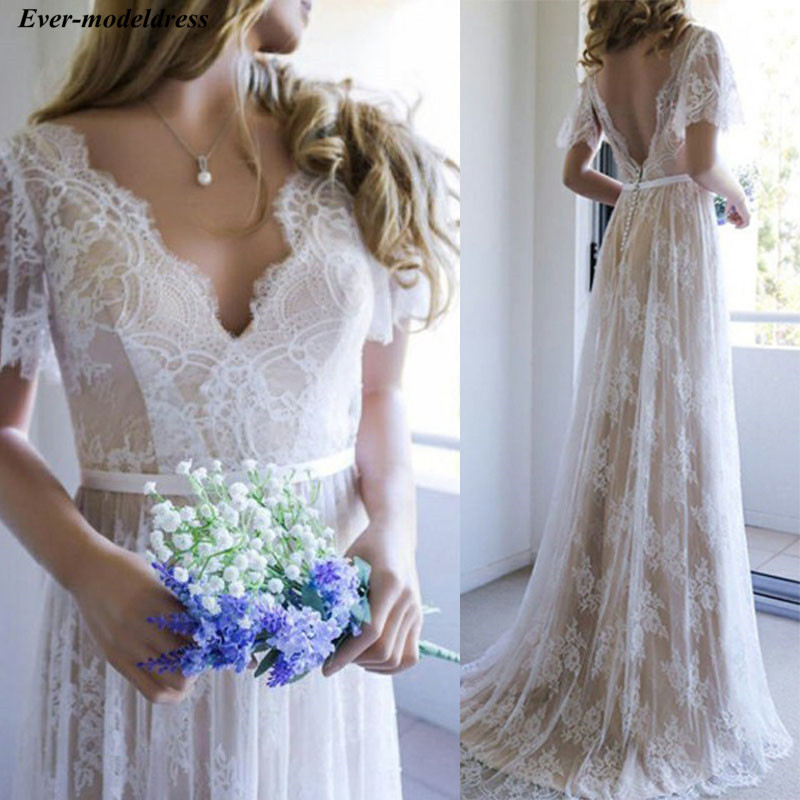 Lace Boho Wedding Dresses 2019 Champagne V-Neck Backless Appliques Sweep Train Bohemian Bridal Wedding Gowns Robe De Mariage