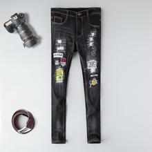 2019 High quality brand men jeans straight cotton black ripped fasion casual homme denim trousers plus size male printed jeans