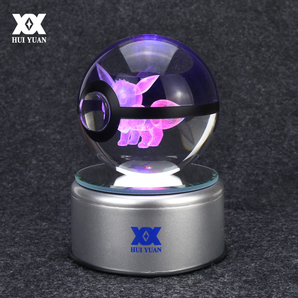 Eevee 3D Crystal Ball Lamp Pokemon Go Desktop Decoration Glass Ball Night Light LED Colorful Rotate Base HUI YUAN Brand