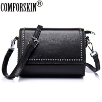 COMFORSKIN Brand Vintage Rivet Ladies Messenger Bags Premium Real Leather Bolsos Mujer Women Bag Cross Body