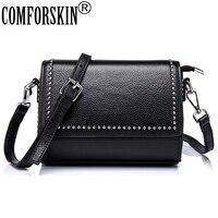 COMFORSKIN Brand Vintage Rivet Ladies Messenger Bags Premium Real Leather Bolsos Mujer Women Bag Cross Body
