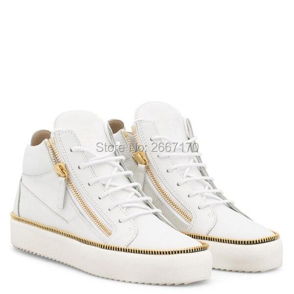 Fashion New Celebrity Mens Shoes Casual Black White Leather Platform Flat Shoes Zapatilla Hombre Cross-tied Zipper Men Sneakers