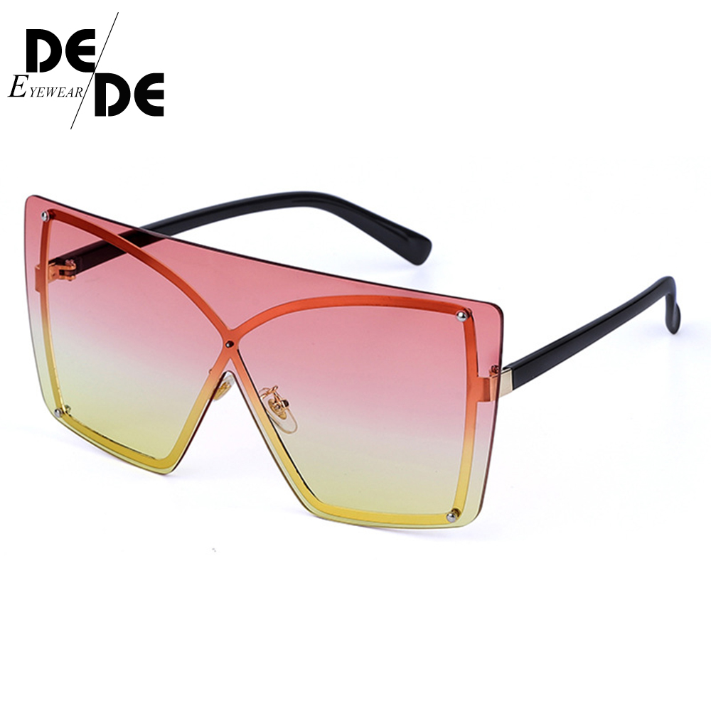 Brand Shades Pink Yellow Square Sunglasses For Women Double Color One Pieces Flat Sun Glasses Men Alloy Rimless Eyewear in Women 39 s Sunglasses from Apparel Accessories