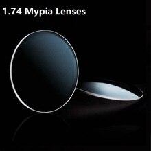 1.74 Aspherical glass lenses eyes Brand Ultra Thinnest light CR-39 prescription myopia optical Green Coating eyeglasses