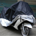 High Quality Big Size Polyester Silver Coated Plastic Waterproof Dustproof UV Motorcycle Cover Double Color