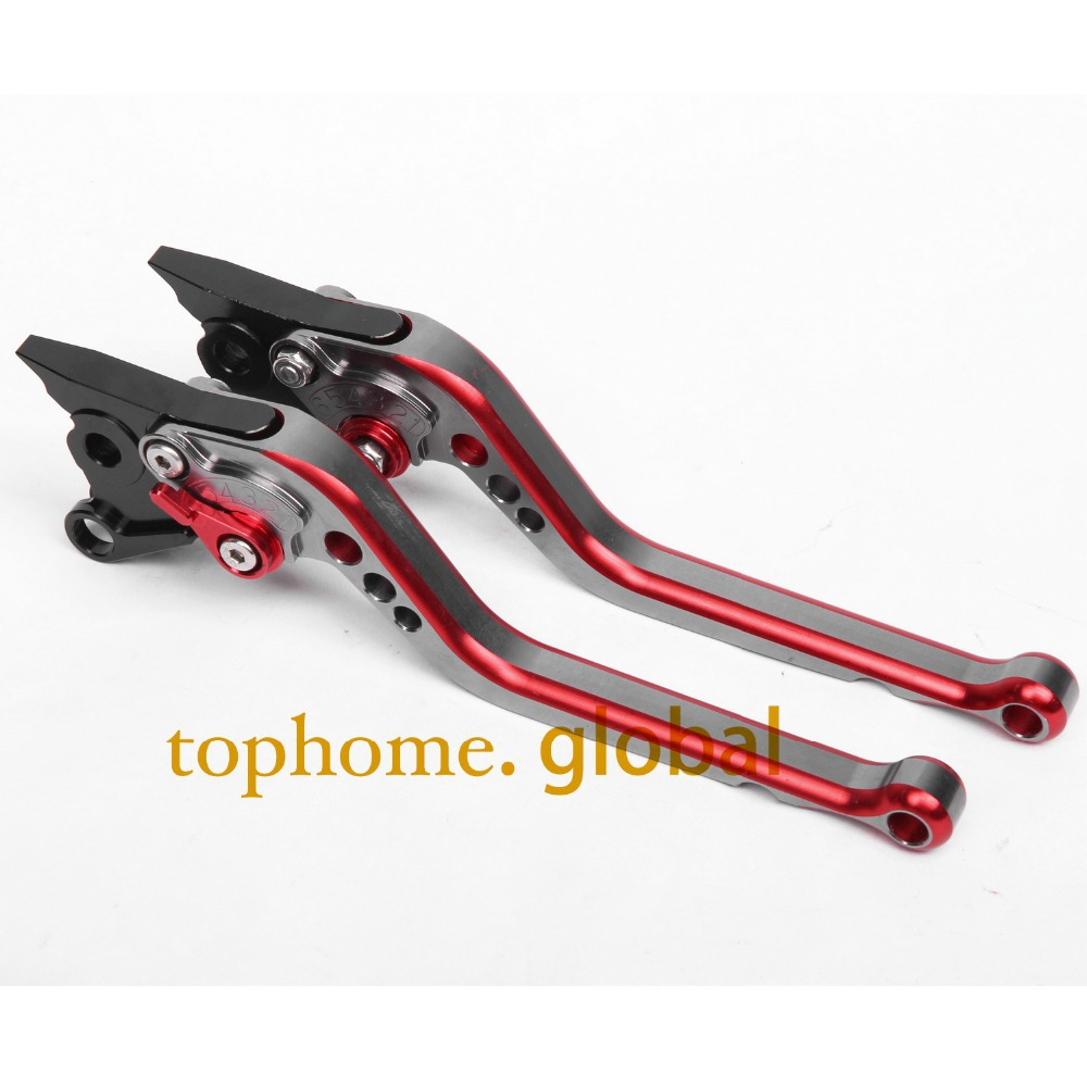 CNC Motorcycles Brake Clutch Levers Regular size Mixed Titanium&Red Color Ducati DIAVEL /CARBON 2011-2012 2013 2014 - TopHome store