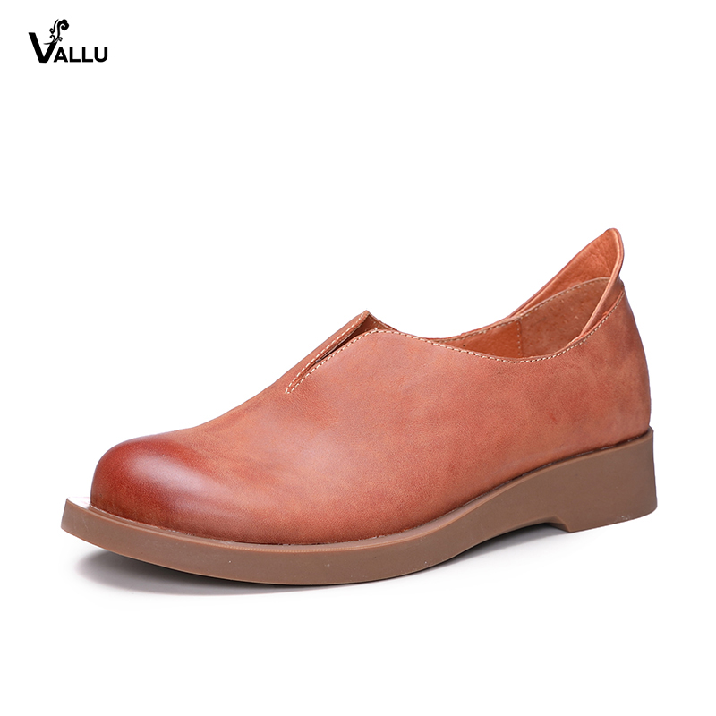 VALLU New 2018 Vintage Women Flats Genuine Leather Shoes Round Toes Handmade Retro Casual Loafers 2018 vallu women brogue shoes wingtip perforated round toes lace up genuine leather vintage oxfords women flats shoes plus size
