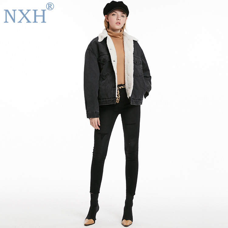 NXH 2019 Winter jacket fall jacket women lining fur coats and jackets women denim jacket windbreaker