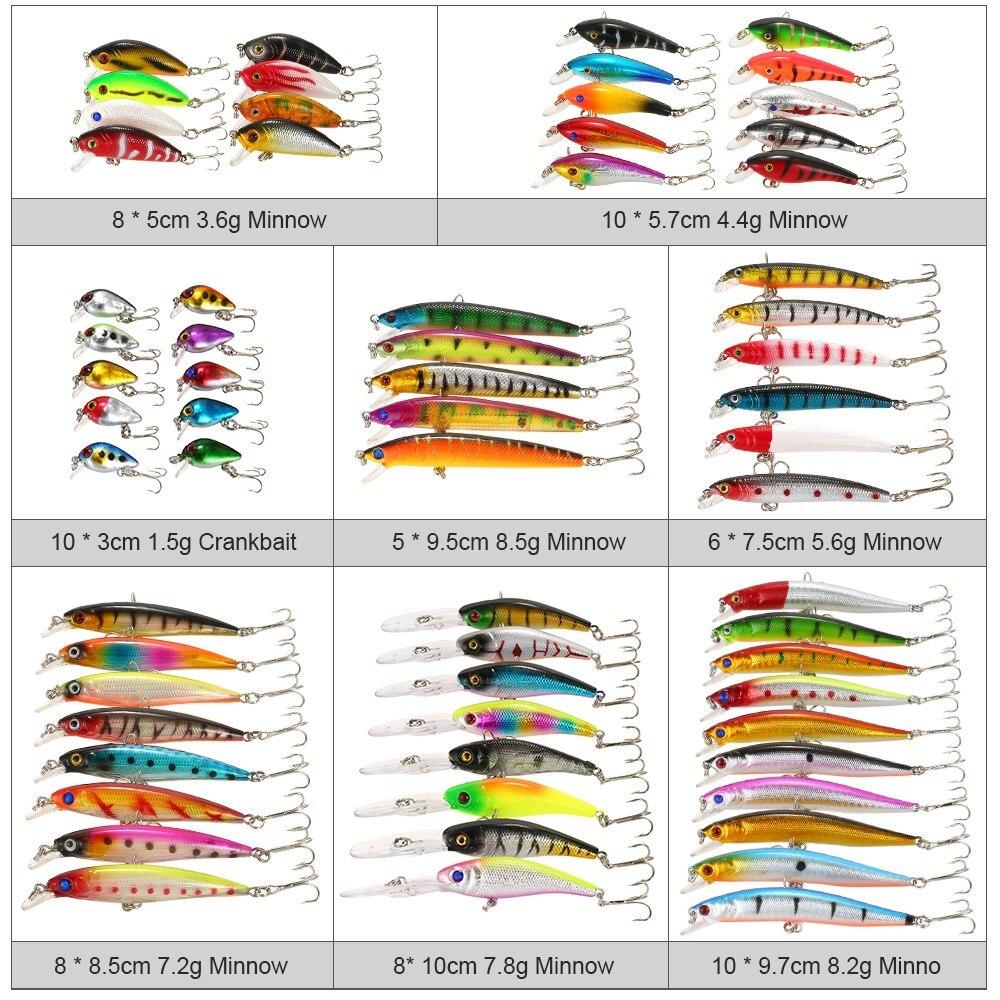 65 pièces glace poisson leurre mixte pêche leurre Set Kit hiver méné leurres manivelle artificiel dur appât achigan carpe matériel de pêche - 4