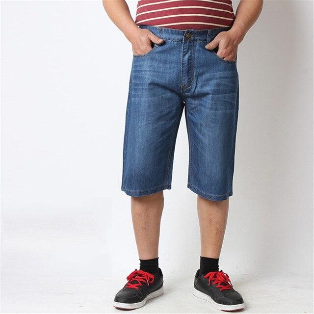 0bcb98fd989c Sommer Oversize männer Jeans Blau Reißverschluss Hose Lässige Mode Kurze  Hosen für Männer Solide Leichte Gerade