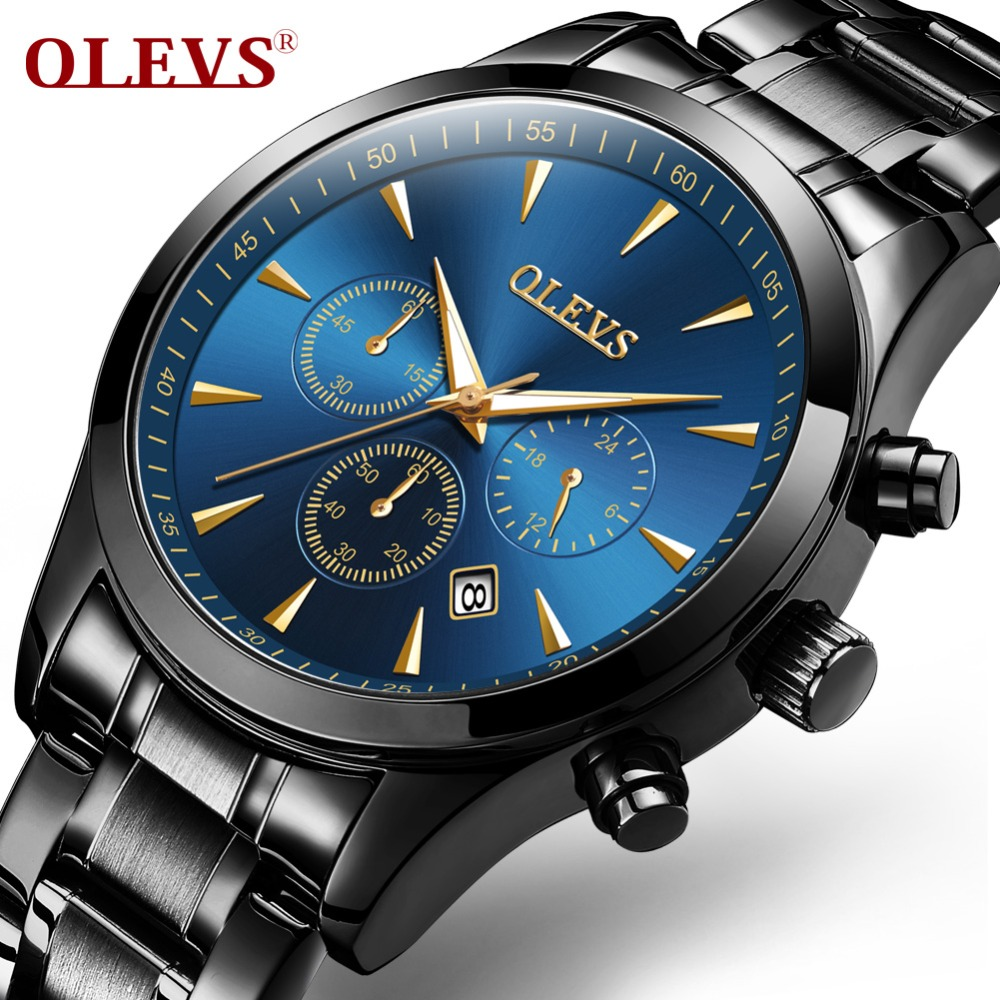 OLEVS Big Face Men Bracelets Watches Waterproof Luminous Hands Male Stop Watch Clock Chronograph Calendar Man's Wristwatch 2860