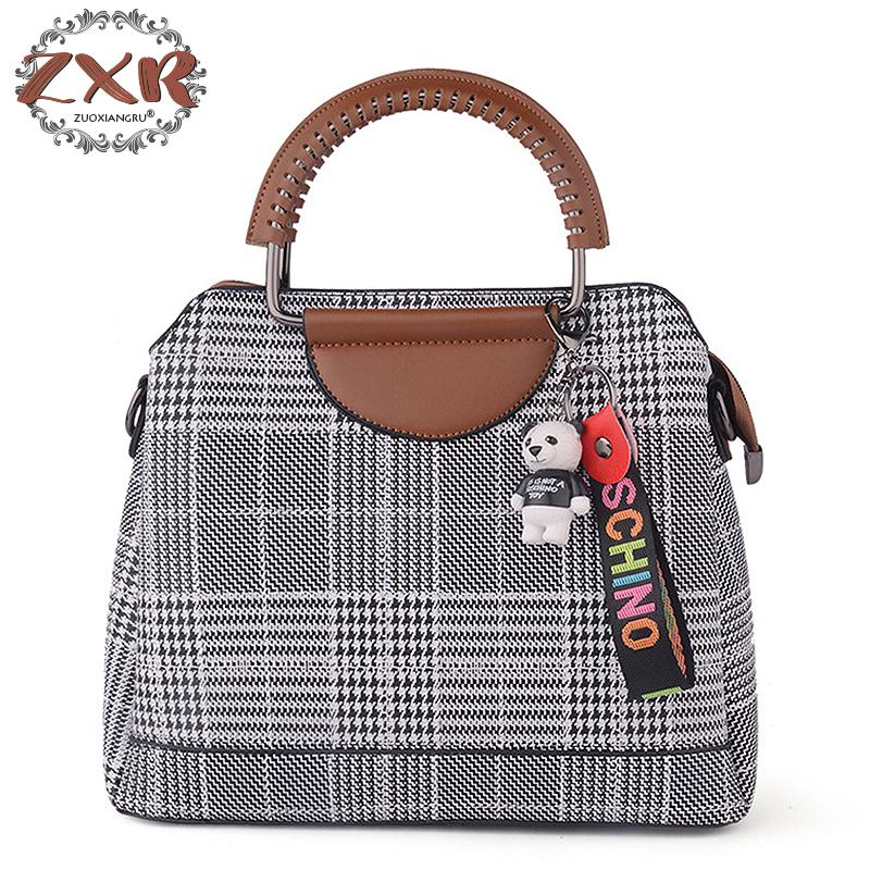 Houndstooth Pattern Bags For Women Bag Fashion Handbag Small Handbags Tcartoon Panda Letter Pendant Decoration Women Handbags