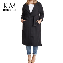 Kissmilk Plus Size Solid Black Single Breasted  Sash Women Warm Coat Turn-Down Collar Long Sleeve Trench Coat