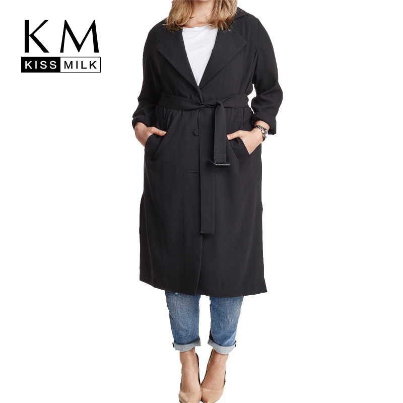 Kissmilk Plus Size Solid Black Single Breasted Sash Women Warm Casual Coat Turn down Collar Full Sleeve Long Windbreaker in Trench from Women 39 s Clothing