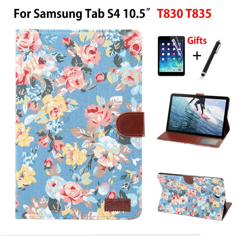 Case For Samsung Galaxy Tab S4 10.5 Inch T830 T835 T837 SM-T830 SM-T835 Cover Funda Tablet Painted Cloth Stand Shell