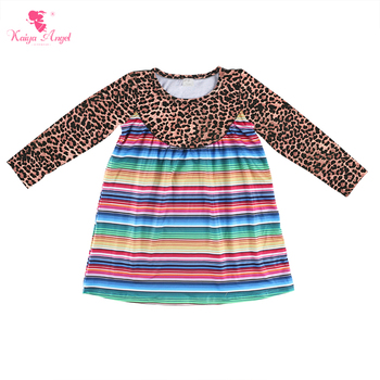 Kaiya Angel 2018 Hot Kids Fall Long Sleeve Boutique Dresses Leopard Print Top With Colorful Striped Bottom Parchwork Clothes