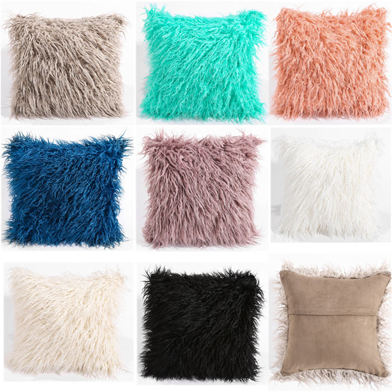 45cmx45cm Super Soft Plush Waist Cushion Cover Winter Square Solid Color Faux Fur Throw Pillow Case Sofa Home Car Decorative