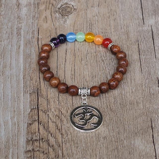 Bracelet 7 Chakras du Bonheur Perles De Bois Mala