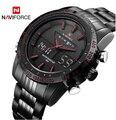 NAVIFORCE 9024 мужские спортивные часы модные роскошные мужские кварцевые брендовые аналоговые цифровые часы полностью стальные мужские наручны...